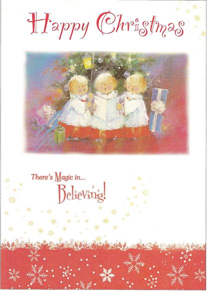 "3 cute choirboys. ""Happy christmas, There's magic in believing"""