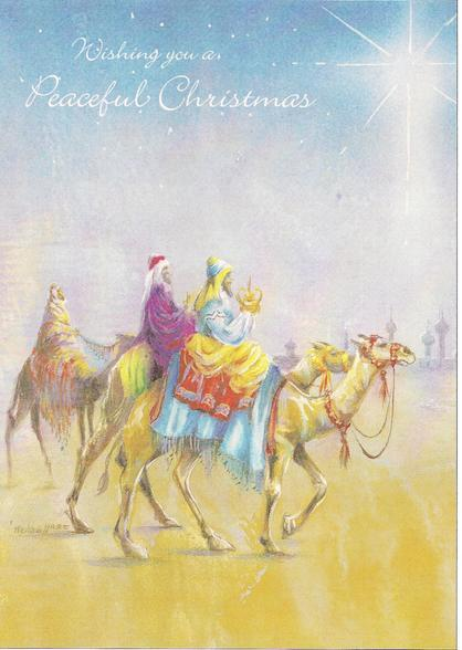 "3 kings on camels - ""Wishing you a Peaceful Christmas"""