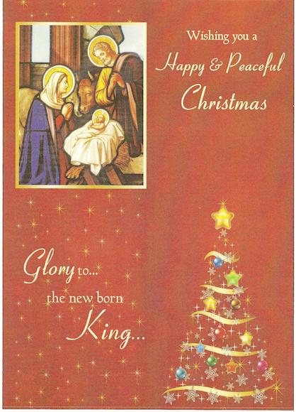 "Small Nativity scene & christmas tree - ""Wishing you a Happy & Peaceful Christmas. Glory to ...the new born King.."""