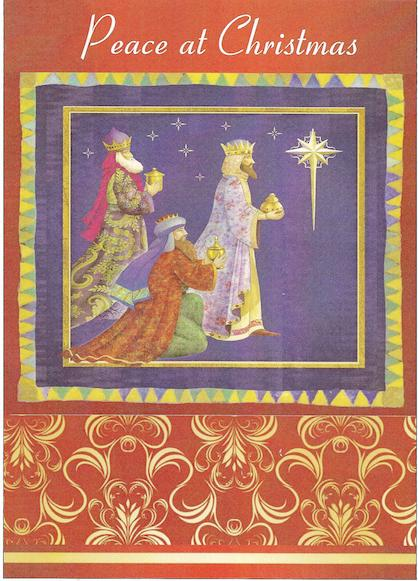 "3 Kings holding gifts - ""Peace at Christmas"""